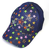 Кепка для девочки 10-12 лет. Цвет: темный джинс со звездами. Р-р 52.