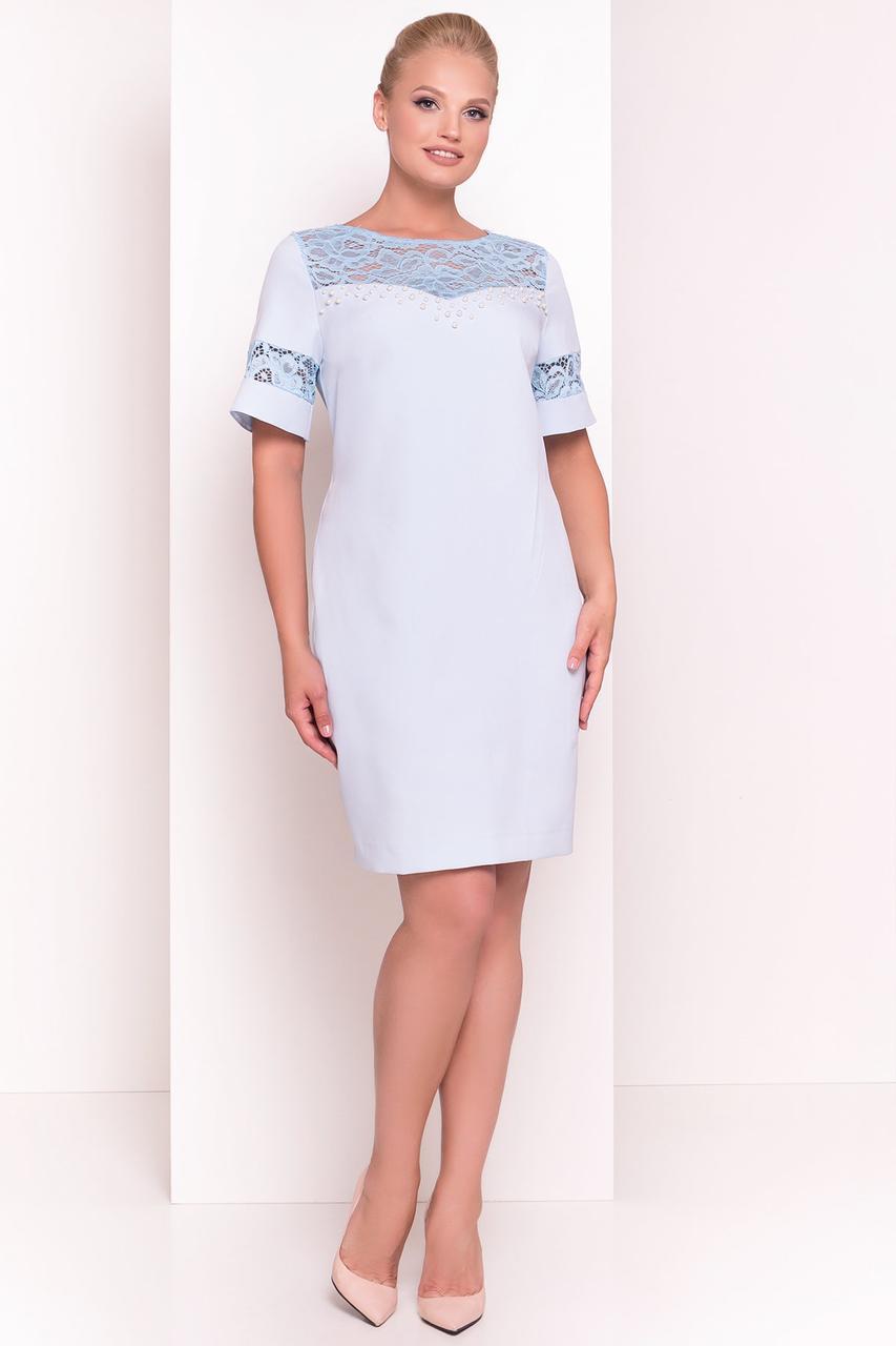 Нарядное коктейльное батальное платье Инна полуприталенного силуэта на лето