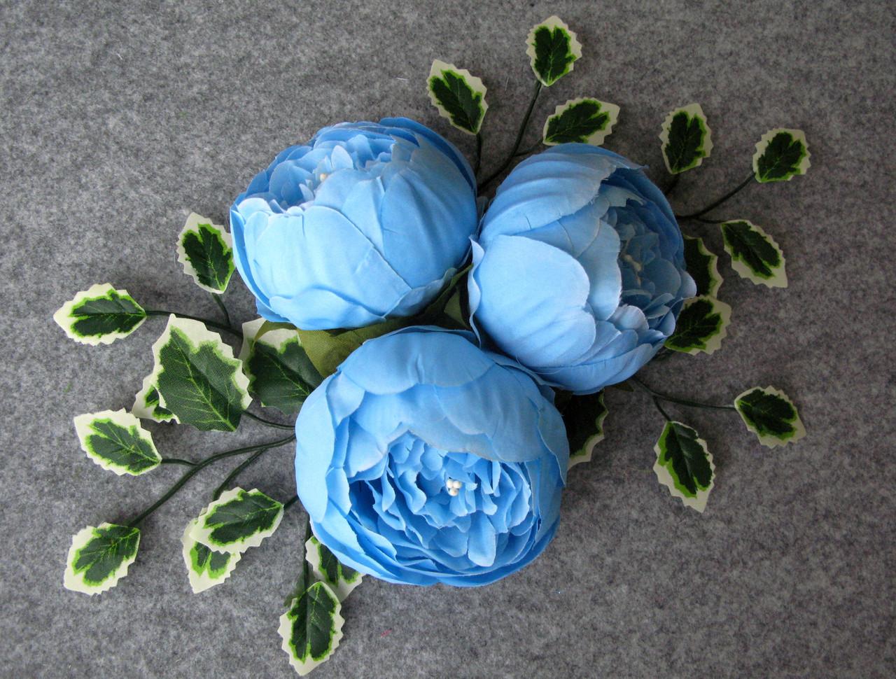 Пион искусственный h - 5 см d- 8 см цвет голубой (головка без листьев) - 19.75 грн
