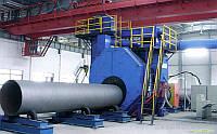 Дробеметная установка проходного типа для очистки наружной поверхности труб