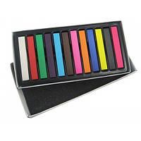 Цветные мелки для волос 12 штук / художественная пастель.