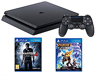Игровая приставка Sony PlayStation 4 Slim (PS4 Slim) 1TB + Ratchet & Clank + Uncharted 4