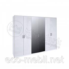 Розпашна шафа 6Д з дзеркалом у спальню Рома Білий Глянець Міромарк
