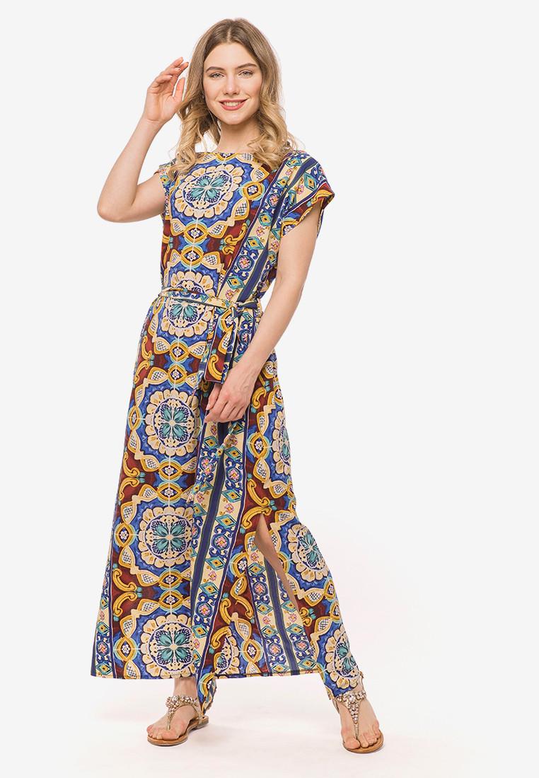 Женское платье летучая мышь в пол с коротким рукавом 90383/1, фото 1