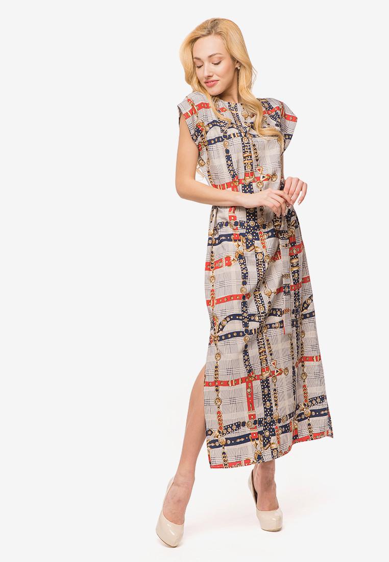 Женское платье летучая мышь в пол с коротким рукавом 90383/2, фото 1