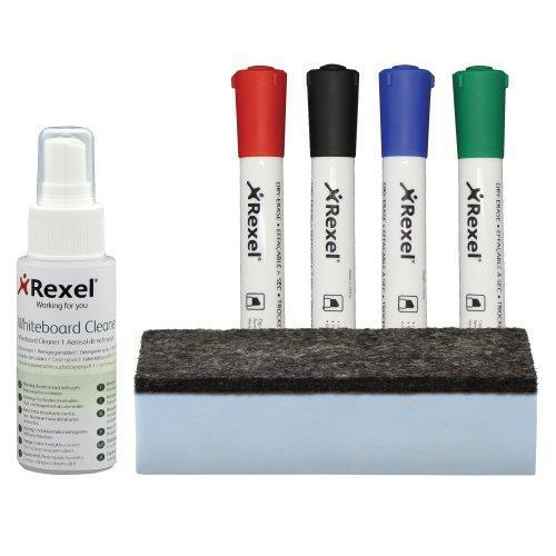 Набор аксессуаров для магнитно-маркерных досок и флипчартов (спрей, губка, 4 маркеры) Rexel