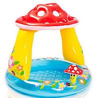 Детский бассейн с МЯГКИМ ДНОМ для детской попки 1,02х89  Грибочек 57114 Надувной бассейн Intex