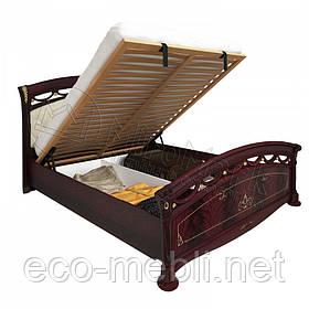 Двоспальне ліжко 160х200 Люкс мяка спинка з підйомним механізмом у спальню Роселла Перо Рубіно Міромарк