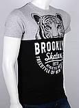 ХXL /52  Мужская футболка с принтом серый + черный, фото 2