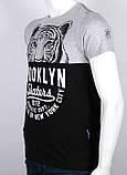 ХXL /52  Мужская футболка с принтом серый + черный, фото 3