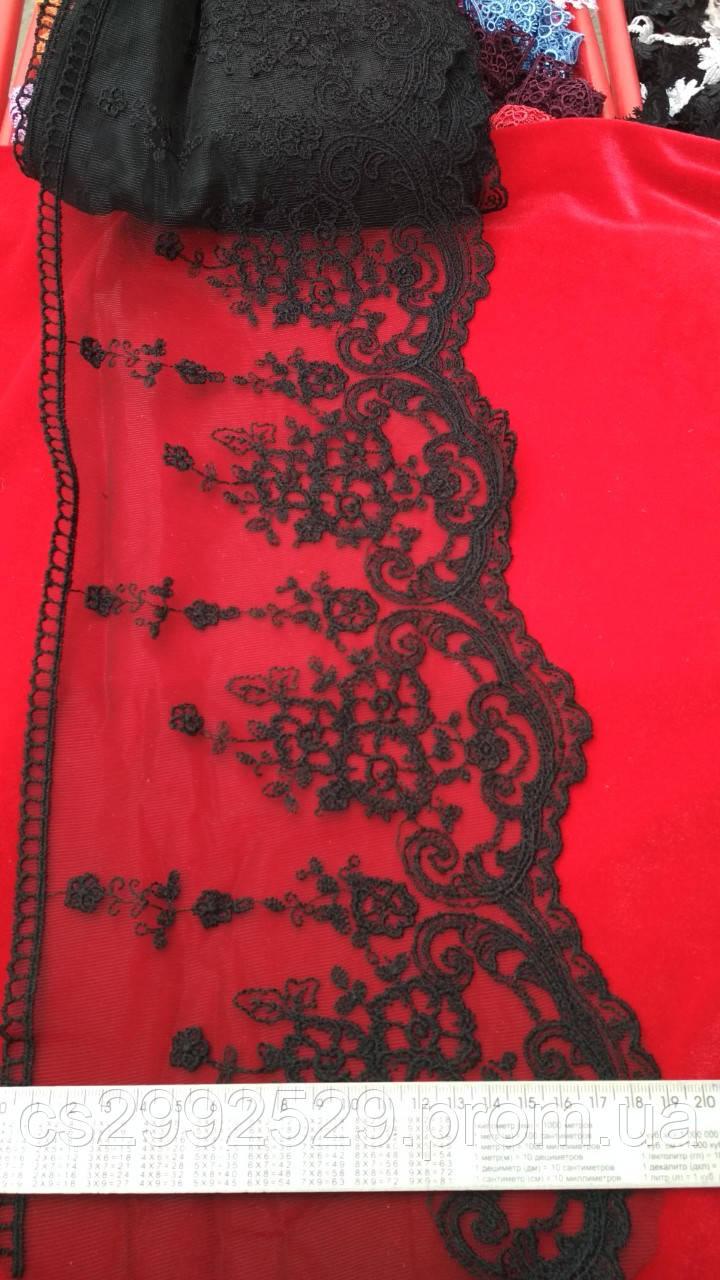 Лента из органзы вышитая.Бант 14 метров. Бант кружево вышивка сетка, для декора и пошива одежды
