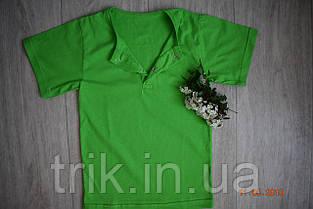 Детская  зеленая футболка для мальчика застежка-кнопка, фото 2