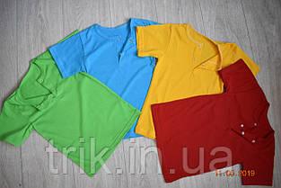 Детская  зеленая футболка для мальчика застежка-кнопка, фото 3
