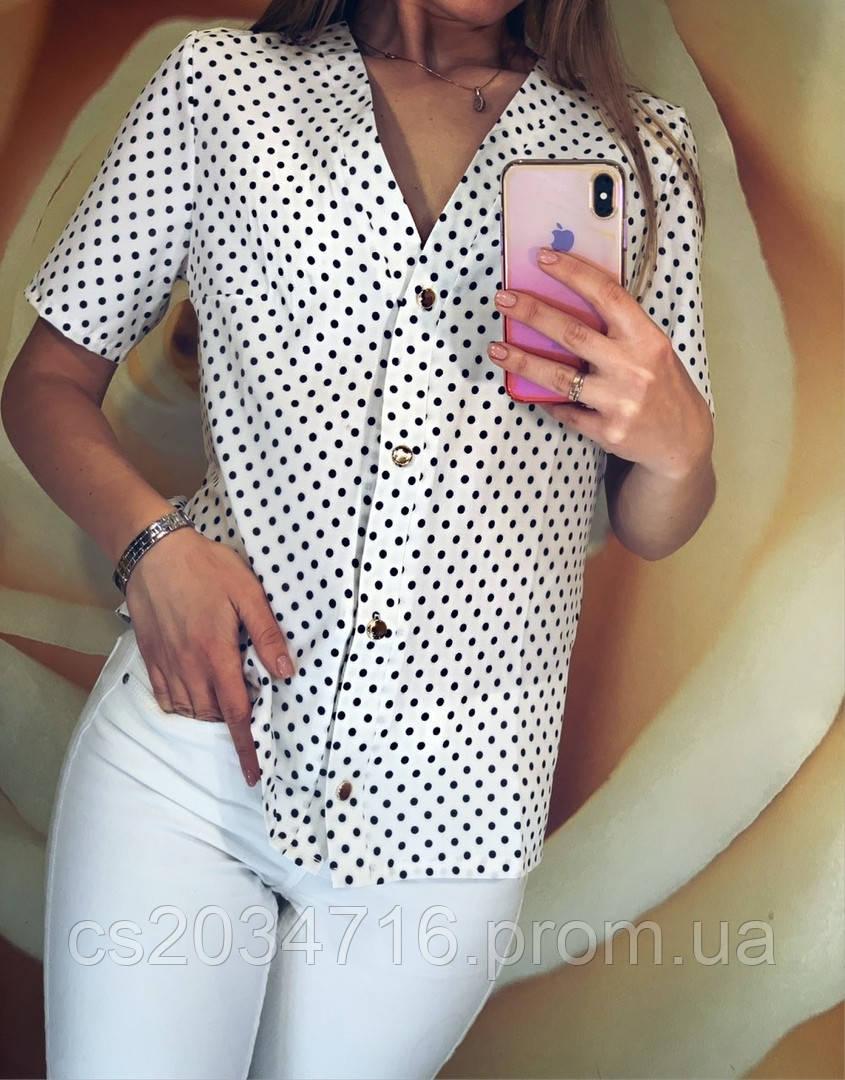 Женская блуза рубашка с коротким рукавом