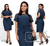 Женское джинсовое платье с гипюром и кулиской на талии (2 цвета) - Синий PY/-0213