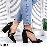 Эффектные, изящные кожаные и замшевые туфли на каблучке, фото 4