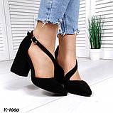 Эффектные, изящные кожаные и замшевые туфли на каблучке, фото 6