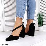 Эффектные, изящные кожаные и замшевые туфли на каблучке, фото 9