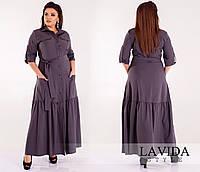 Красивое женское батальное платье-рубашка в пол с поясом и карманами