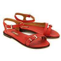 Босоножки красного цвета женские кожаные 4003red