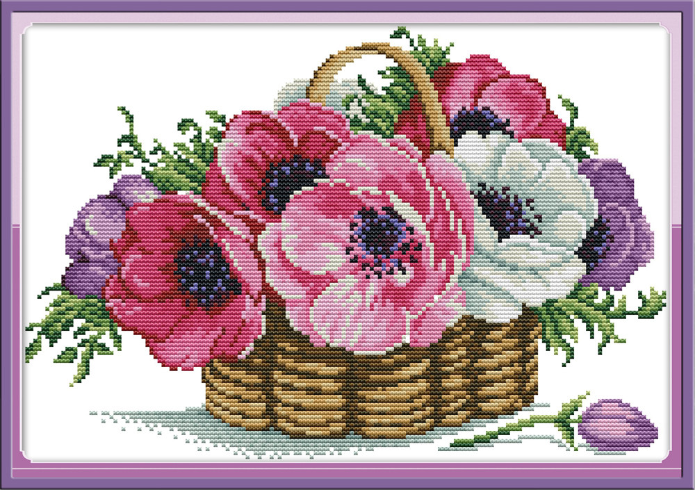 Набор для вышивки крестом с печатью на ткани NKF Корзина с цветами H798 14ст