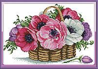 Корзина с цветами H798 Набор для вышивки крестом с печатью на ткани 14ст