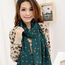 Зеленый женский шарф в горошек коричневый - размер 150*46см