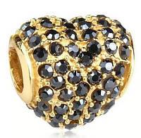 """Шарм бусина Pandora (Пандора) """"Золотое сердце с черными кристалами"""""""