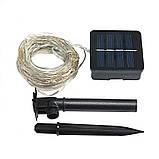 Светодиодный шнур гирлянда на солнечной батарее «TY-N002» 10м 100LED теплый свет, фото 5