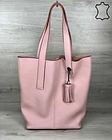 Кожаная женская сумка-шоппер Jolie пудрового цвета