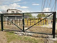 Ворота распашные  РУБЕЖ/КОЛЬЧУГА для забора из сетки, фото 1
