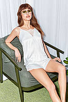 Сатиновая пижамка Anabel Arto с кружевом (шампань) Размер 42, 44