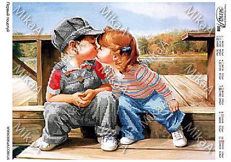 """Схема для частичной вышивки бисером - """"Первый поцелуй"""""""