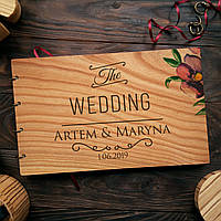 """Свадебная книга поздравлений и пожеланий с деревянной обложкой """"The Wedding"""", фото 1"""