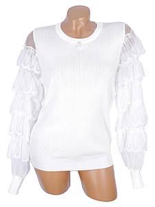 Весенний трикотажный пуловер с нарядными рукавами 44
