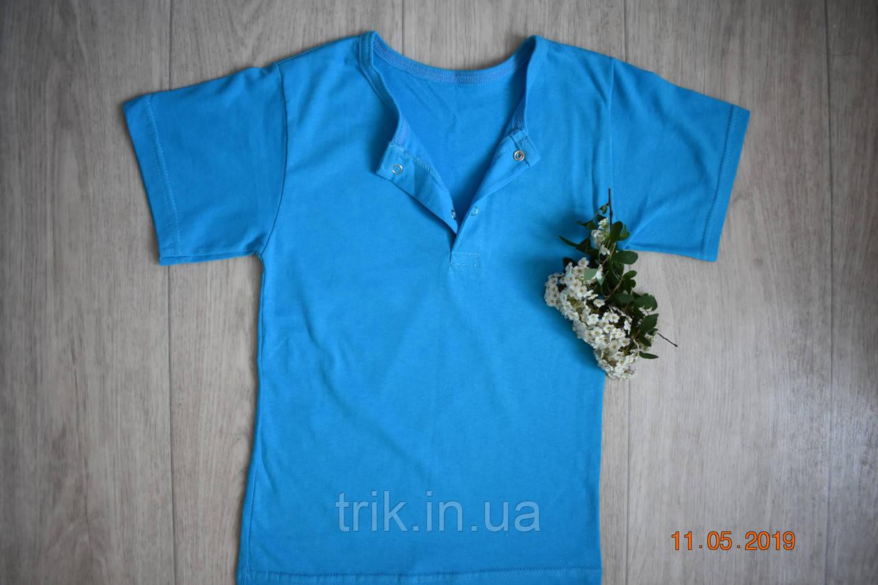 Бирюзовая детская футболка для девочек застежка-кнопка