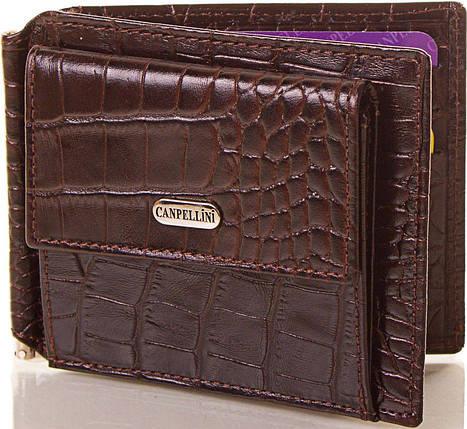 Мужской стильный кожаный зажим для купюр CANPELLINI (КАНПЕЛЛИНИ) SHI073 коричневый, фото 2