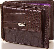 Мужской стильный кожаный зажим для купюр CANPELLINI (КАНПЕЛЛИНИ) SHI073 коричневый