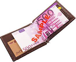 Мужской стильный кожаный зажим для купюр CANPELLINI (КАНПЕЛЛИНИ) SHI073 коричневый, фото 3