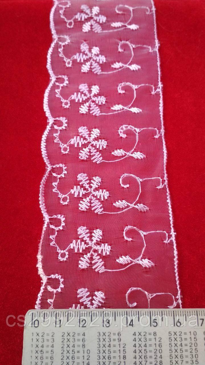 Бант органза вышитый для пошива и декора одежды. Кружево Бант органза. Цвет розовый
