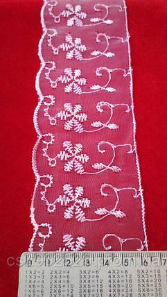 Бант органза вышитый для пошива и декора одежды. Кружево Бант органза. Цвет розовый, фото 2