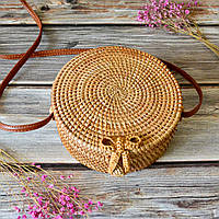 Плетёная сумочка из ротанга с о. Бали ( соломенная женская сумочка ) 20х8см, светлый ротанг. Тренд 2019