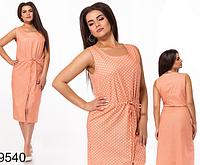 Модное платье-сарафан миди в горошек из льна (оранжевый) 829540