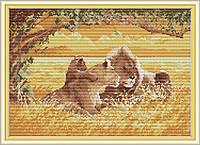 Семья львов DA288 Набор для вышивания крестиком с печатью на ткани 14ст