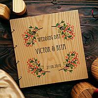 """Свадебная книга поздравлений и пожеланий 22х22 см с деревянной обложкой """"Акварель"""", фото 1"""