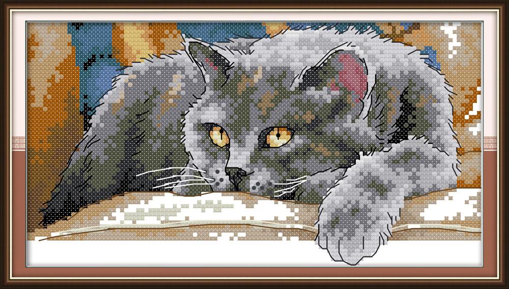 Черный кот DA253/2 Набор для вышивания крестиком с печатью на ткани 14ст