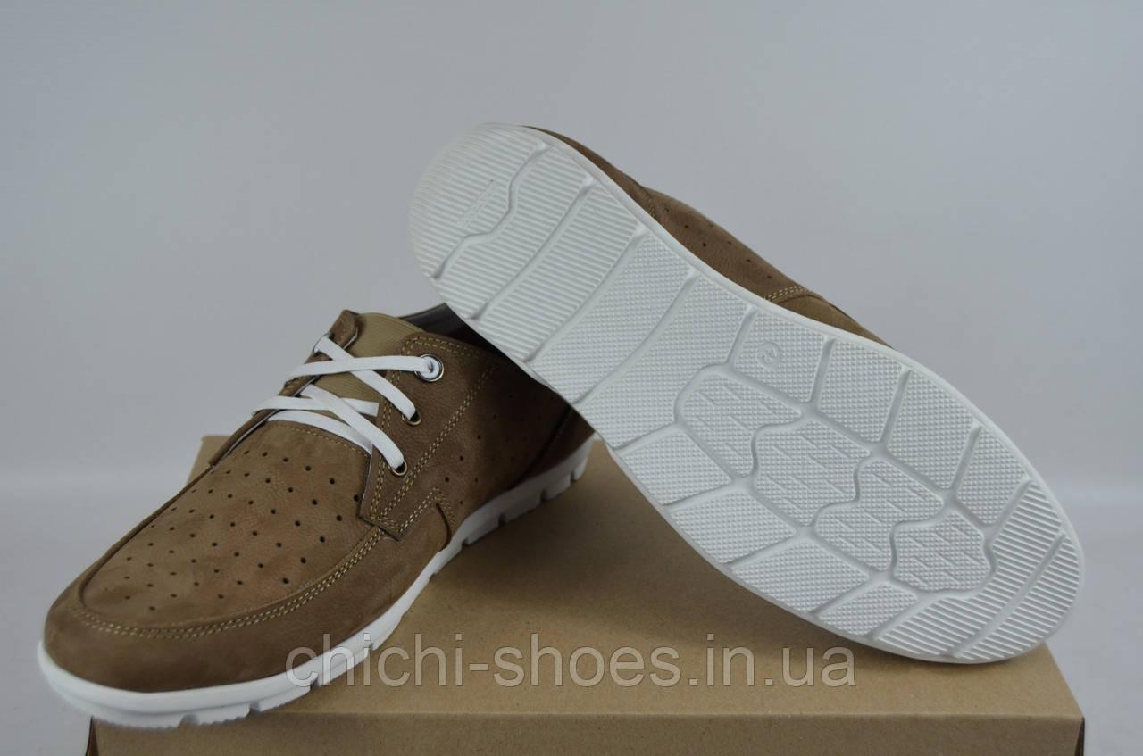 Туфли-мокасины мужские Vitex 50108 бежевые нубук на шнурках