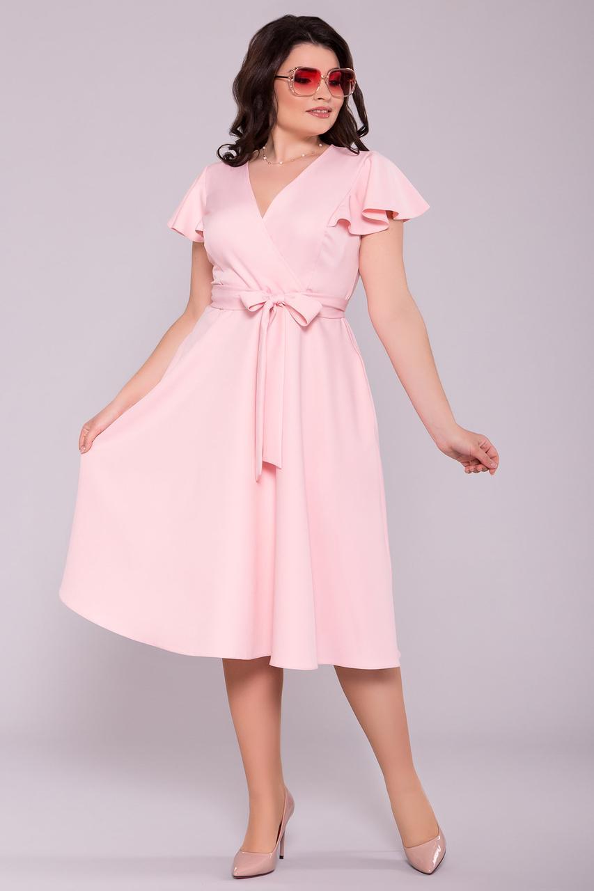 Приталенное батальное платье Амина с юбкой полусолнце на лето