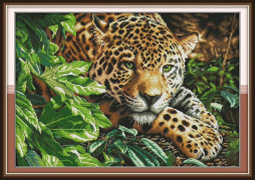 Леопард DA260 Набор для вышивания крестиком с печатью на ткани 14ст