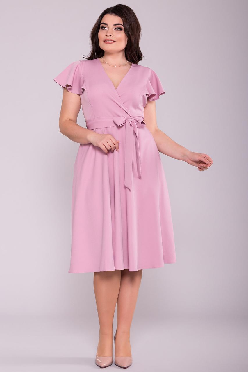 Приталенное батальное платье Амина-1 с юбкой полусолнце на лето